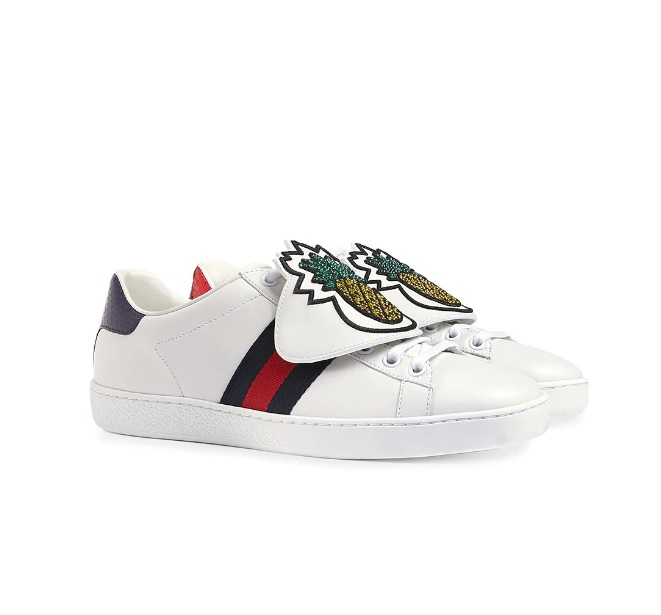 311e1fb537f Gucci Ace Met Patches Ananas Unisex Sneakers - Wit/Blauw/Rood ...