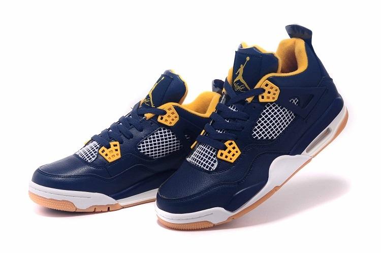 Nike Air Jordan Retro 4 Heren Sneakers - Blauw/Geel/Wit/Bruin @ Sneaker Stad