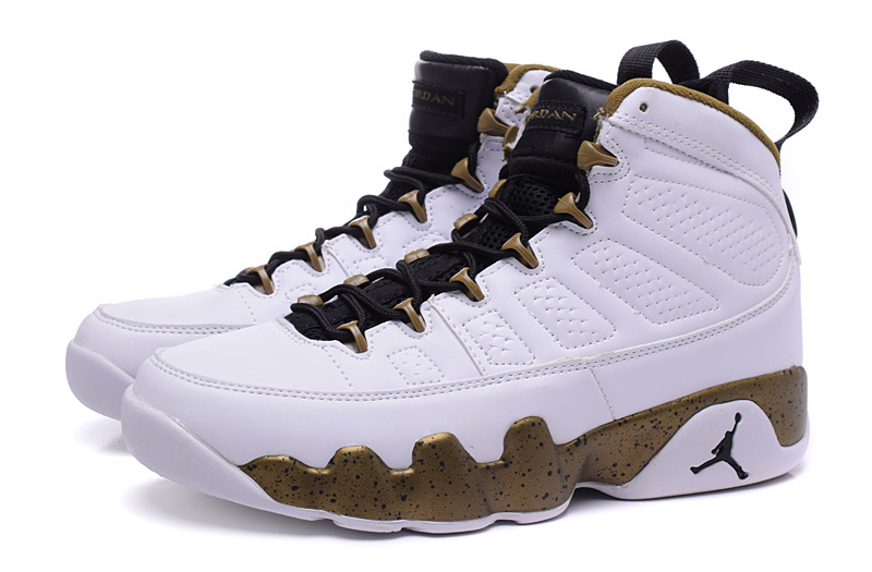 393becbdad7 Nike Air Jordan Retro IX 9 Heren Sneakers – Wit/Goud/Zwart