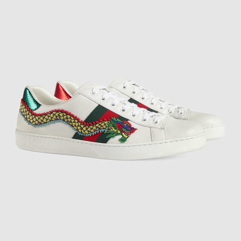 2b9be37f1db8a3 Gucci ace draak heren sneakers wit/groen - Vind je in Sneakerstad