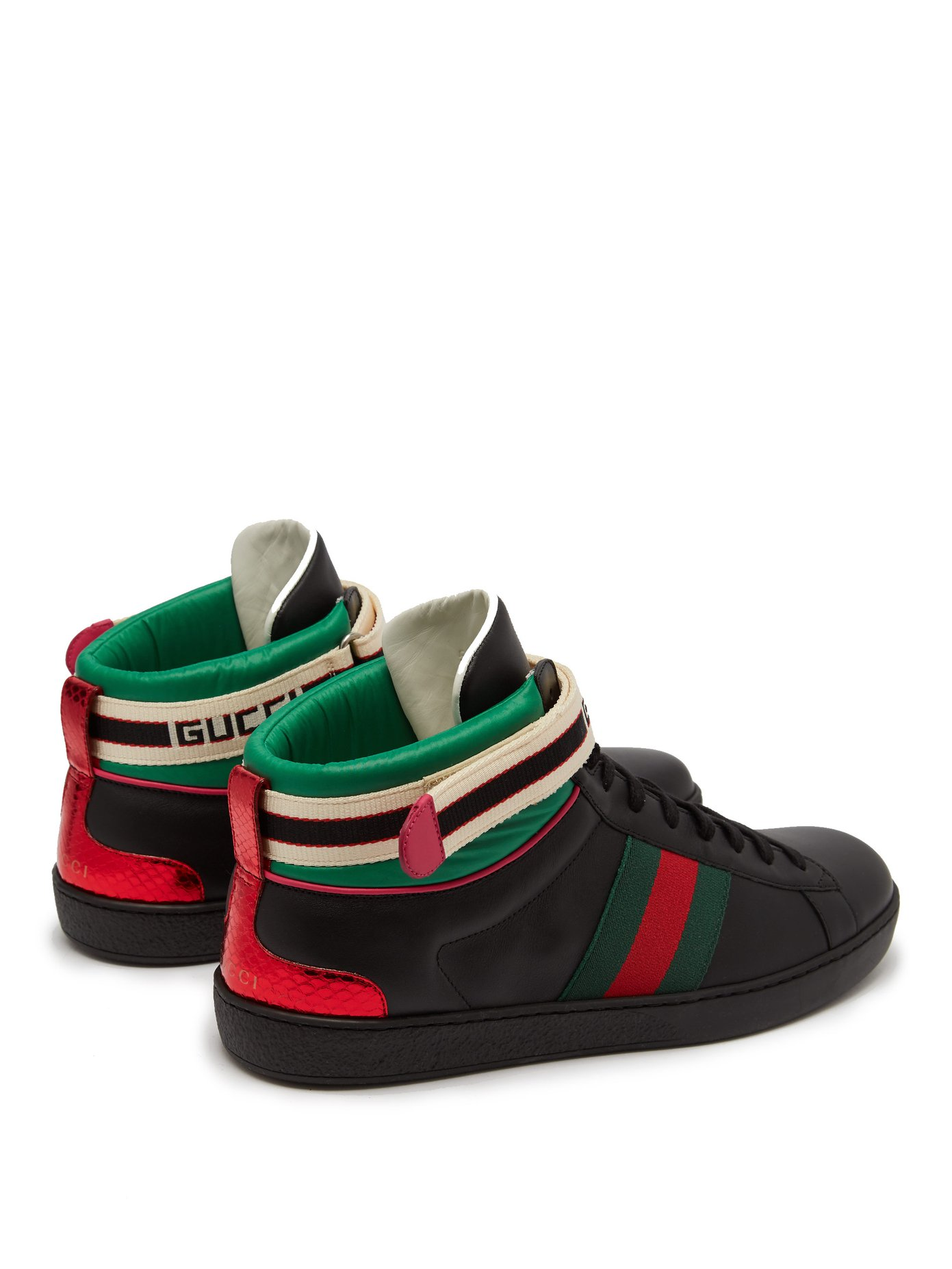 e0a00fbd426 Gucci New Ace Trainers Unisex Sneakers – Zwart/Rood/Groen