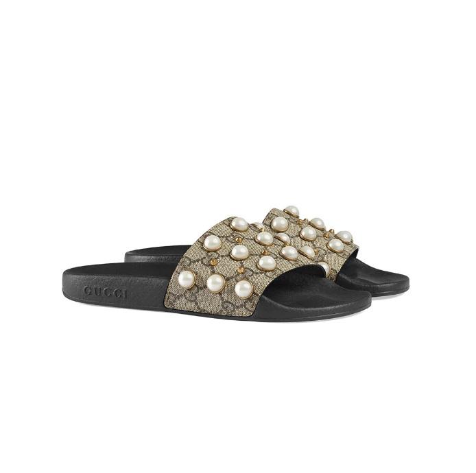 cc4aa5721e3 Gucci Supreme Dames Slippers - Beige/Zwart @ SneakerStad