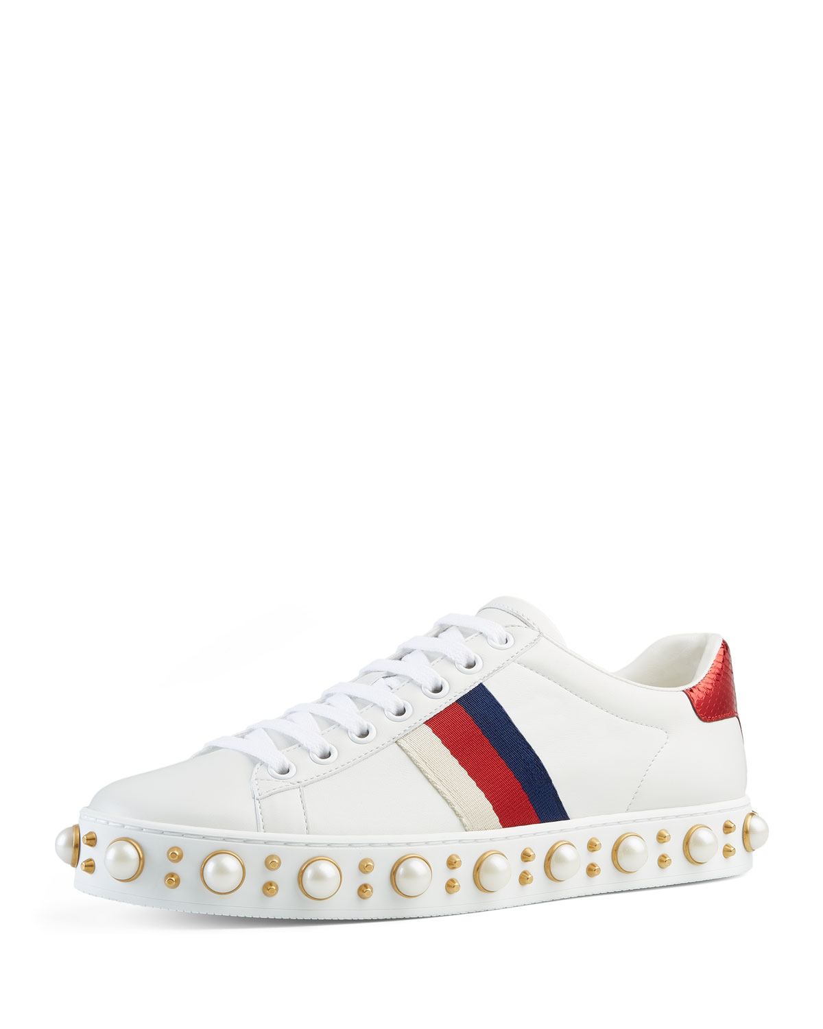 8bfb15ae4c0 Gucci Flat New Ace Dames Sneakers – Wit/Rood/Blauw