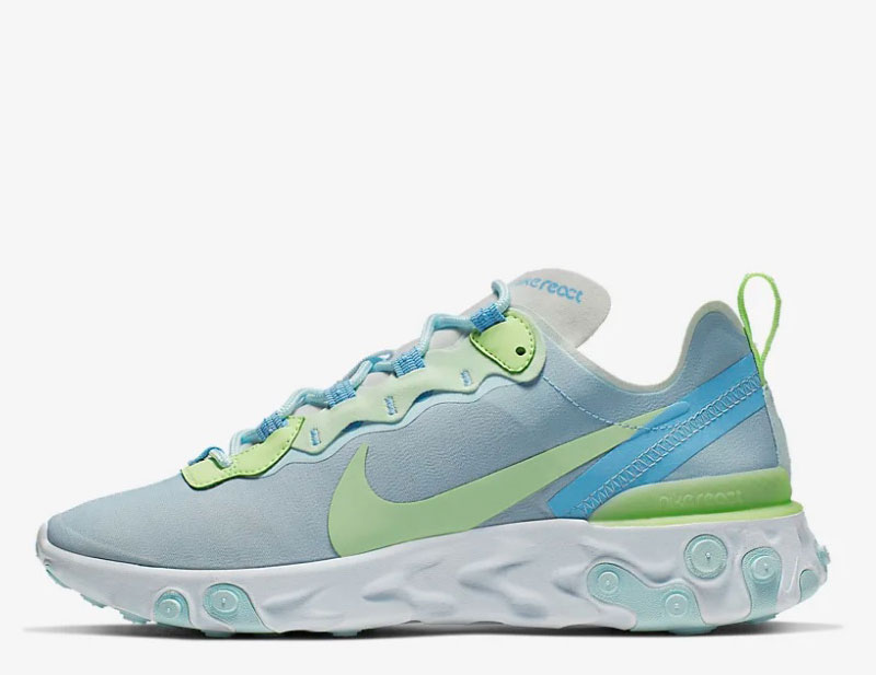 Nike react element 55 dames sneakers blauwgroen
