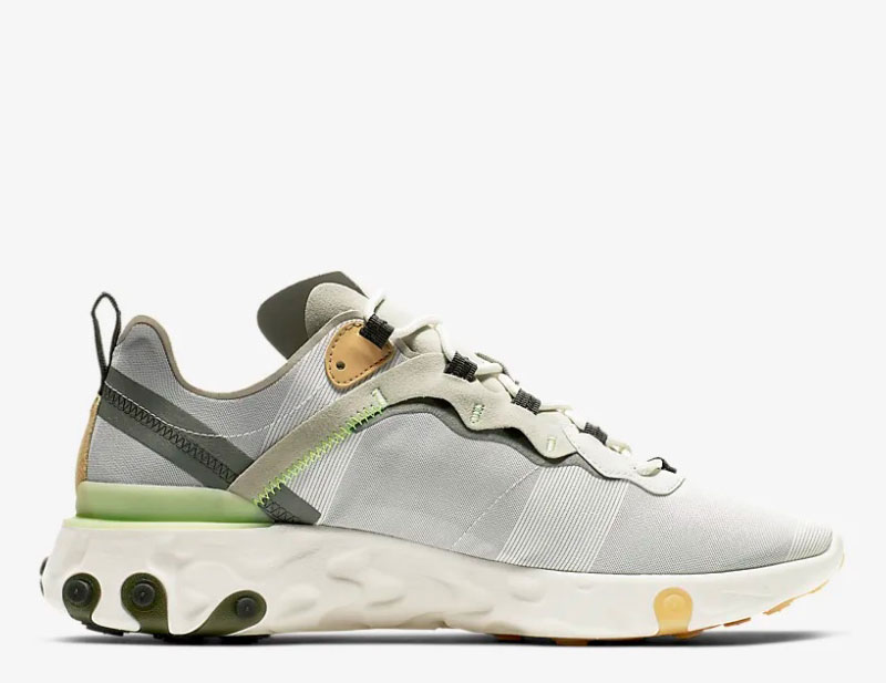 Nike react element 55 heren sneakers grijsgroen