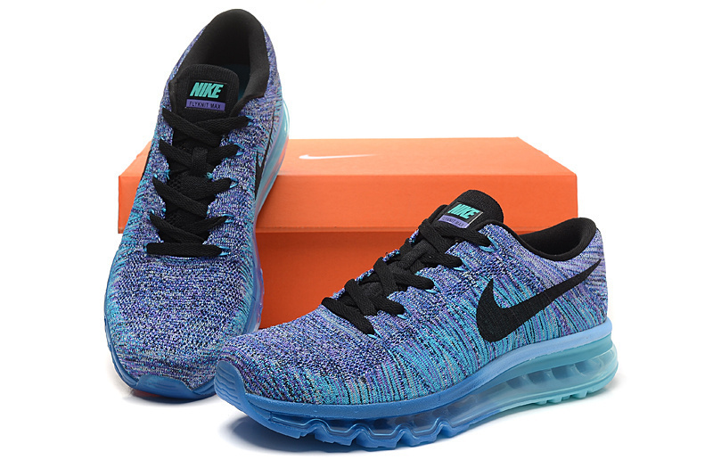 c02ace70ce1 Nike Flyknit Max Running Heren Sneakers 2016 – Blauw/Paars