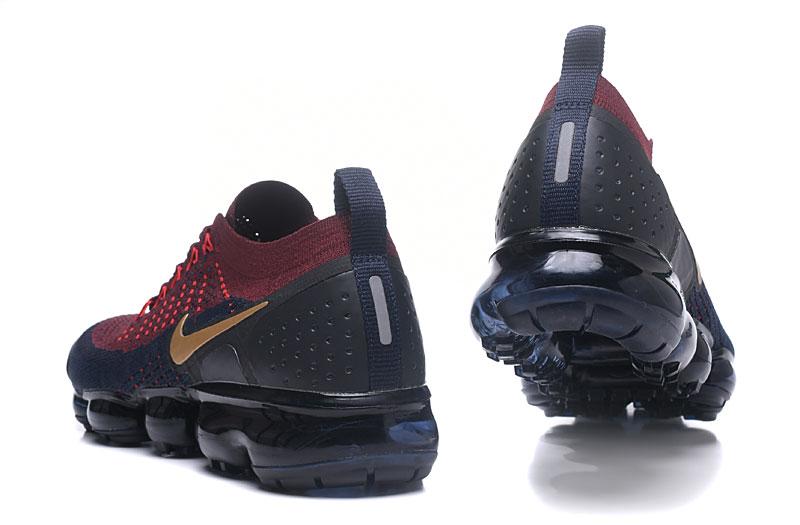 Nike Air VaporMax Flyknit 2 Heren Sneakers BordeauxroodBlauwGoud