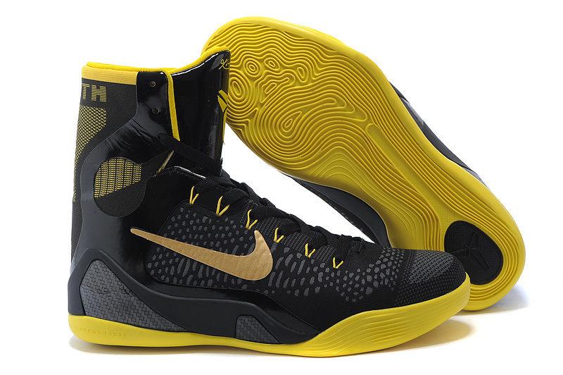 a49bacabd4c Nike Kobe 9 Elite Hoog Heren Sneakers - Zwart/Geel/Goud @ Sneakerstad
