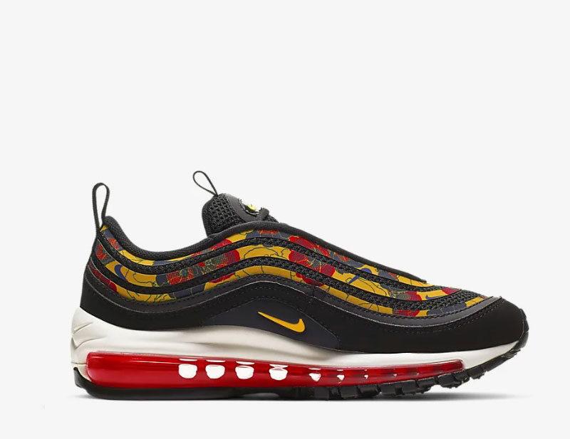 Nike air max 97 se floral dames sneakers zwartgeel vind je