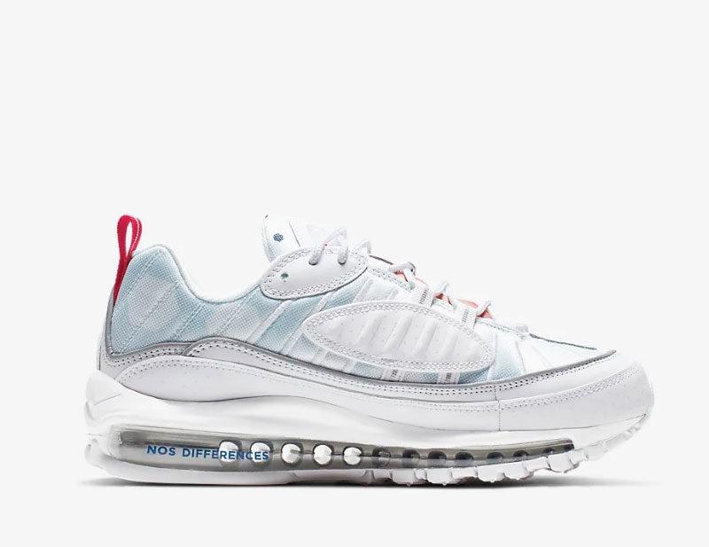 Nike air max 98 premium unité totale sneakers wit/blauw vind ...