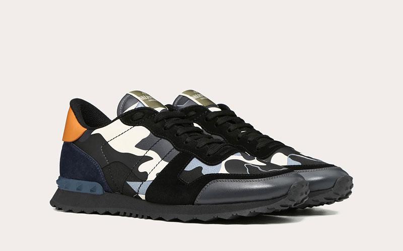 dfb86345b37f8e Valentino Garavani rockrunner camouflage heren sneakers zwart/grijs ...