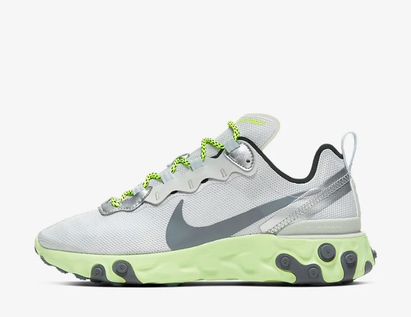 Nike react element 55 dames sneakers grijsgroen
