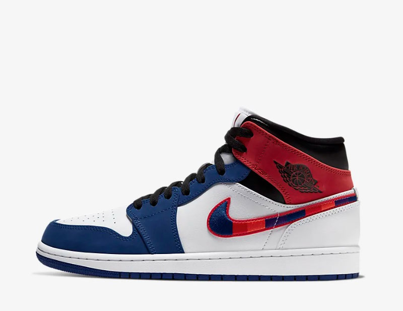 Nike air jordan 1 mid se heren sneakers wit/blauw